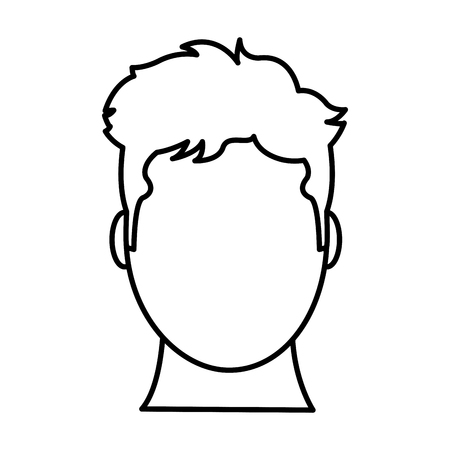 line avatar man head with default face vector illustration Çizim