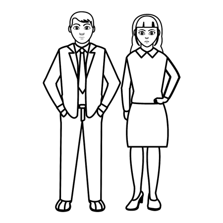 line businesspeople with elegant clothes and hairstyle design