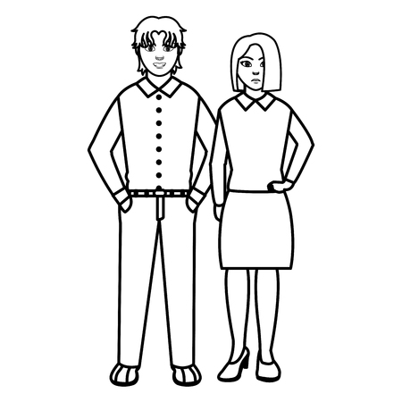 line people with elegant clothes style and hairstyle vector illustration