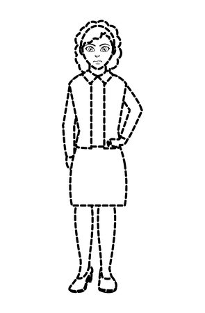 dotted shape woman with elegant clothes and hairstyle design vector illustration