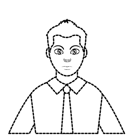 dotted shape avatar elegant man with shirt and tie style vector illustration