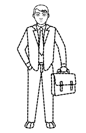 dotted shape man with suitcase and elegant clothes style vector illustration Illustration