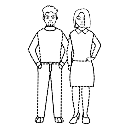 dotted shape elegant businesspeople with hairstyle design and clothes