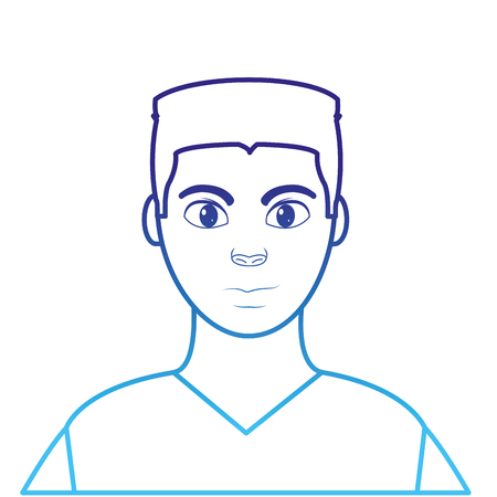 degraded line avatar man with hairstyle design and shirt