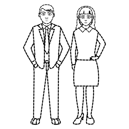 dotted shape businesspeople with elegant clothes and hairstyle design