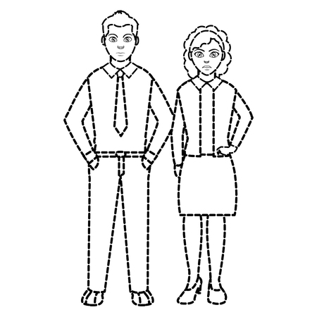 dotted shape businesspeople elegant with hairstyle designa and clothes Illustration