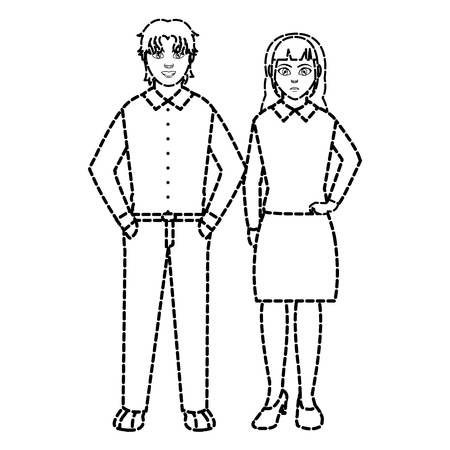 dotted shape businesspeople elegant with clothes and hairstyle design