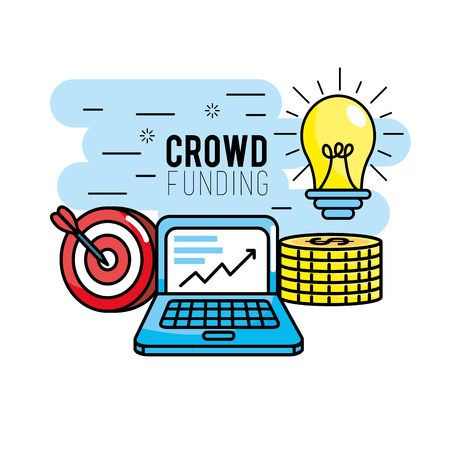 crowndfunding finance project to idea support Illustration