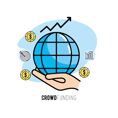 A crowdfunding project support business service vector illustration