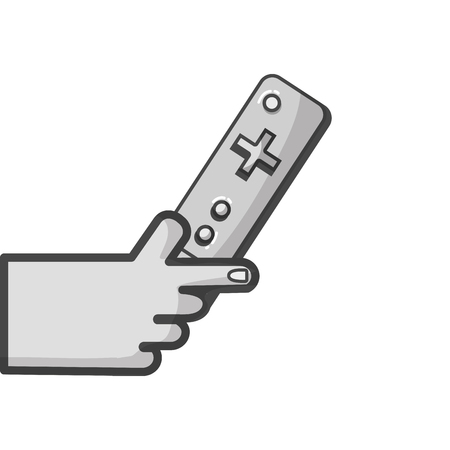 Gray-scale hand with controller object to video game Ilustração