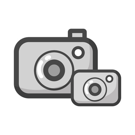Gray-scale digital cameras technology object to photograph Illustration