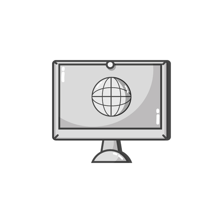 Gray-scale screen electronic equipment with global conection symbol