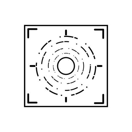 line gun sight circle with shooting focus vector illustration