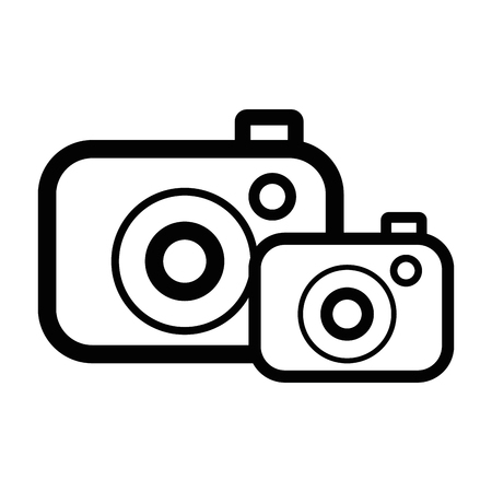 line digital cameras technology object to photograph vector illustration