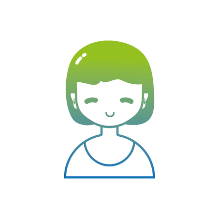 Silhouette avatar girl with blouse and hairstyle design. Vectores