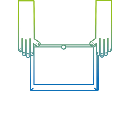 silhouette hands with screen tablet technology object vector illustration
