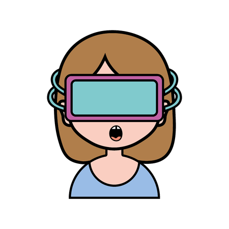 girl with 3d glasses to virtual video game vector illustration Çizim