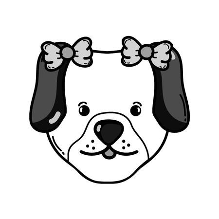grayscale cute dog head pet animal vector illustration
