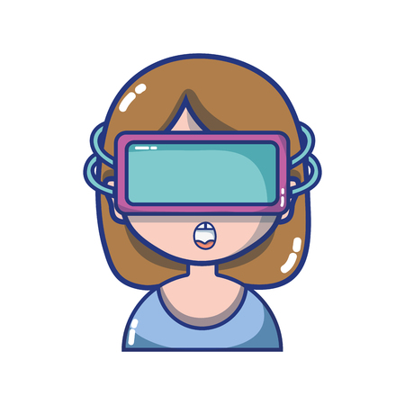 grayscale girl with 3d glasses to virtual video game vector illustration