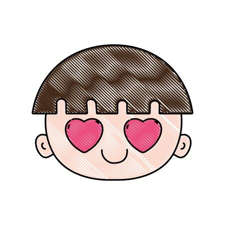 grated face boy in love with hair vector illustration