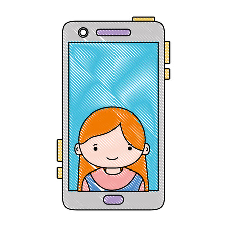 Grated smartphone technology with girl person communication vector illustration Иллюстрация