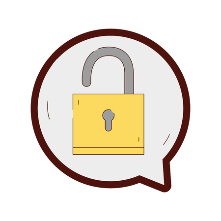 line color padlock sign of security inside chat bubble vector illustration