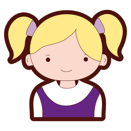 Line color happy girl with two tails hair vector illustration