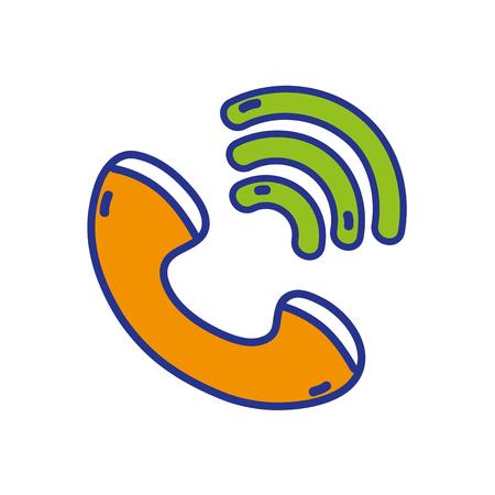 Full color phone calling sign telephone icon. Ilustração