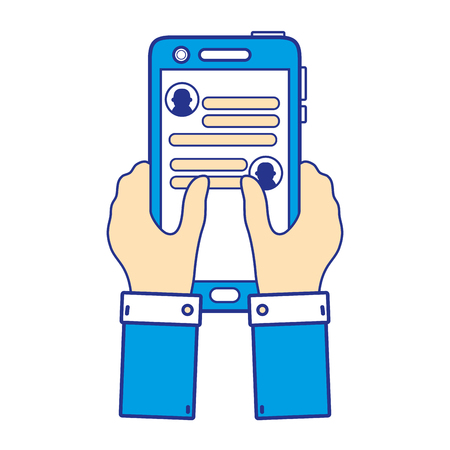 Full color hands with smartphone and WhatsApp chat message. Illustration