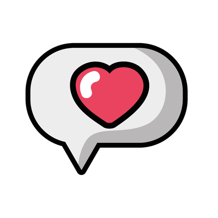 Heart inside chat bubble text message vector illustration.