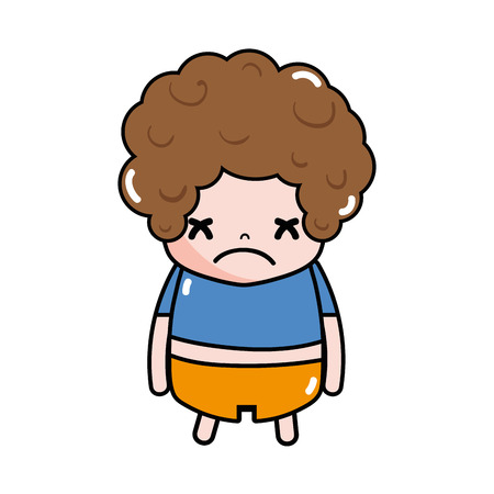 Boy with curly hair and sad face vector illustration. Illustration