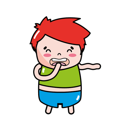 A boy with red hair and disgusted expression Illustration