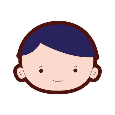 Line color avatar boy face with hair vector illustration