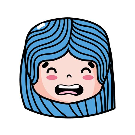 Girl head with hairstyle and disgusted face vector illustration Illustration