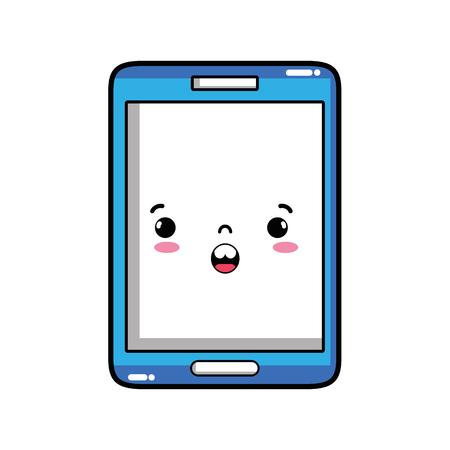 kawaii smartphone mignon surpris visage illustration vectorielle Vecteurs