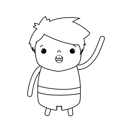 line boy with hairstyle design and amazed face vector illustration
