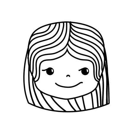 line girl head with hairstyle and rogue face vector illustration Illustration
