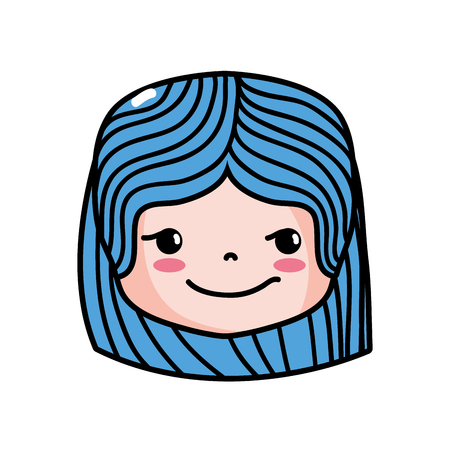 Girl head with hairstyle and rogue face vector illustration 向量圖像
