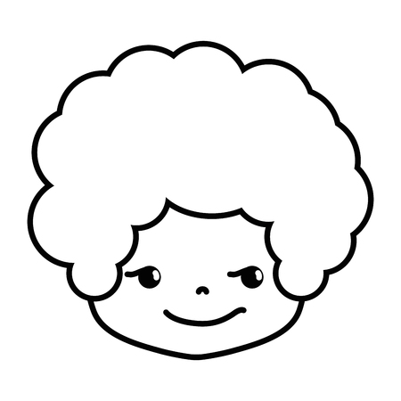 line boy head with curly hair and rogue face vector illustration 向量圖像