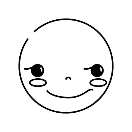 line kawaii head with cute rogue face vector illustration