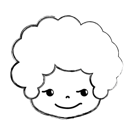 Figure boy head with curly hair and rogue face vector illustration