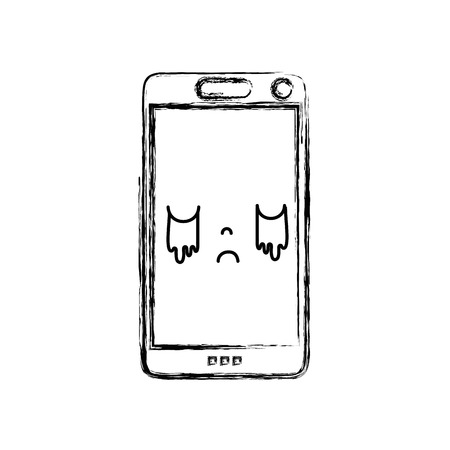 figure kawaii smartphone visage mignon pleurer illustration vectorielle