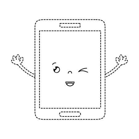 pointillé forme kawaii smartphone mignon visage drôle illustration vectorielle