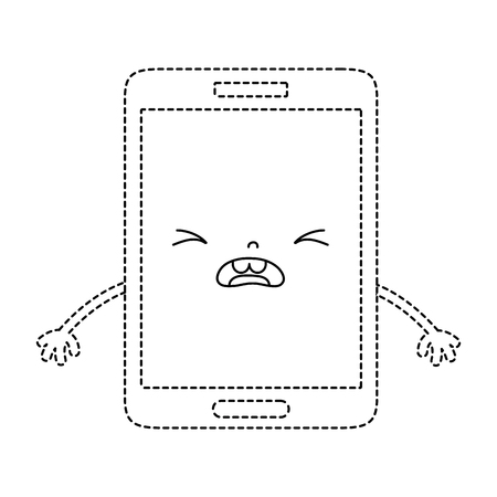 dotted shape kawaii smartphone cute pity face vector illustration