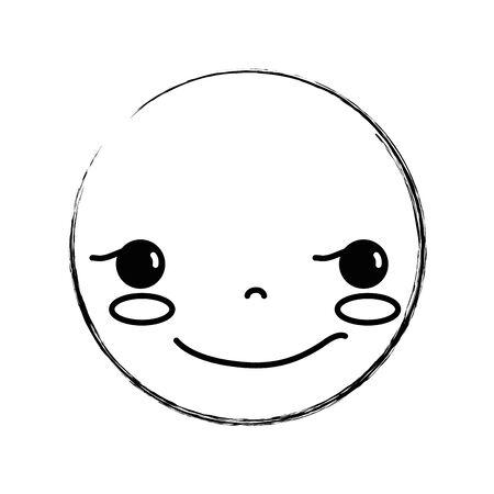 figure kawaii head with cute rogue face vector illustration 向量圖像