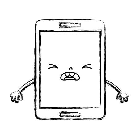 figure kawaii smartphone mignon visage visage illustration vectorielle