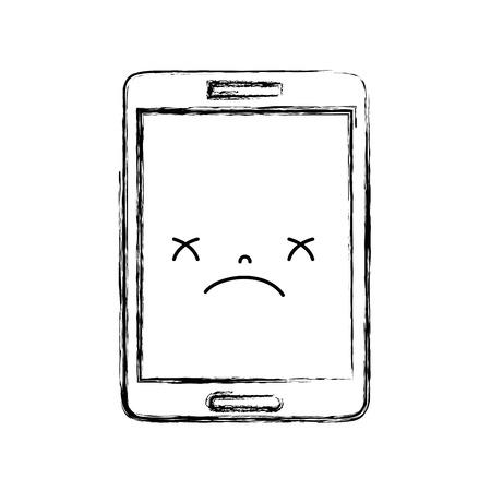 figure kawaii smartphone visage smiley mignon illustration vectorielle
