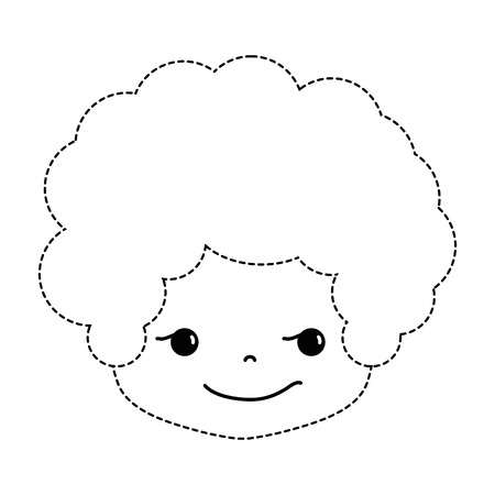 dotted shape boy head with curly hair and rogue face vector illustration