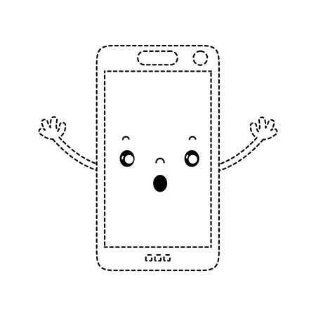 pointillé forme smartphone visage mignon visage sérieux illustration vectorielle Vecteurs