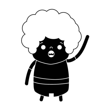 contour boy with curly hair and amazed face Vector illustration.
